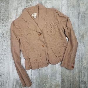 ANTHRO Vintage Elevenses Linen Blazer Jacket